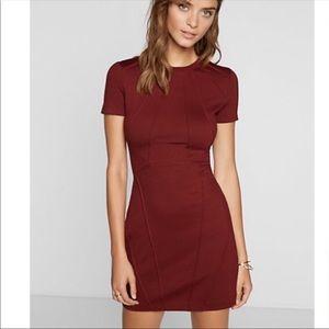 Burgundy pintucked midi sheath express dress